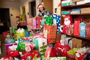 Darlene Niksic, of Beaumont Health System, coordinated the collection of gifts for the Judson Center.